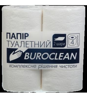 Папір туалетний двошаровий 4рул/уп Buroclean целюлозний, білий