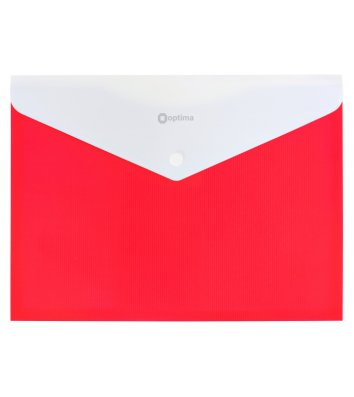 Папка-конверт А4 на кнопці пластикова непрозора з розширенням червона, Optima