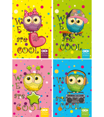 Блокнот А6 40л клетка, верхняя спираль Cool Owls, Zibi
