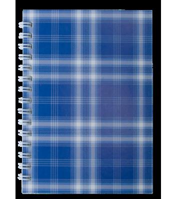 "Блокнот А6 48л клетка ""Шотландка"", боковая спираль синий, Buromax"