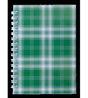 """Блокнот А6 48л клетка """"Шотландка"""", боковая спираль зеленый, Buromax"""