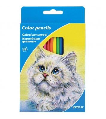 """Олівці кольорові 18шт шестигранні """"Тварини"""", Kite"""