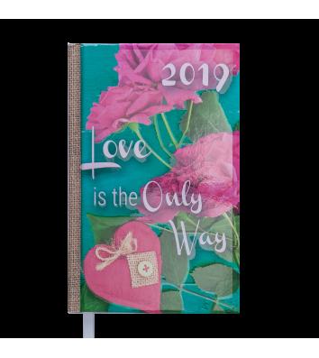 Ежедневник датированный A6 2019 Romantic бирюзовый, Buromax