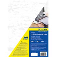 """Обкладинка для брошурування А4 250г/м2  50шт картонна фактура """"шкіра"""" біла, Buromax"""