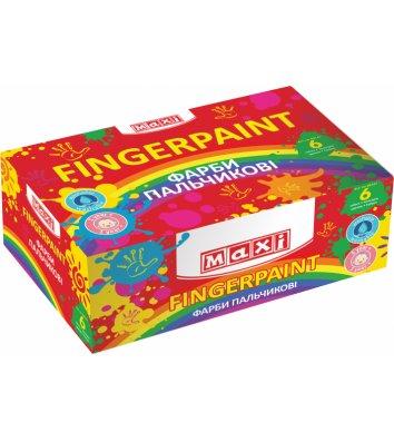 Фарби пальчикові 6 кольорів 40мл, Maxi
