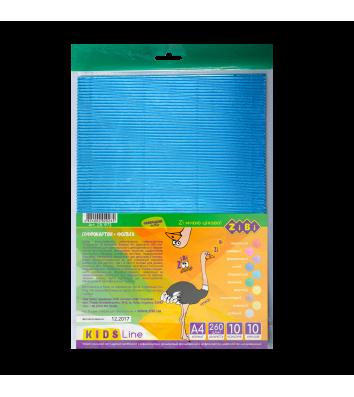 Картон кольоровий гофрований фольгований А4 10арк рельєфний, Zibi