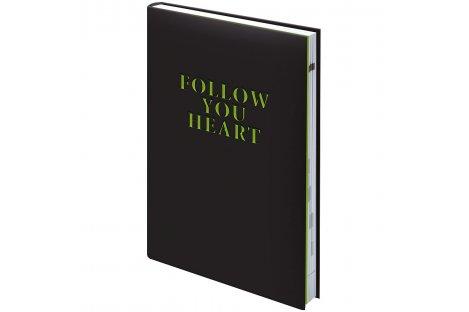 Щоденник недатований A5 Follow your heart чорний, Brunnen