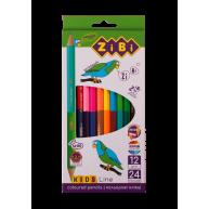 Олівці кольорові 12шт 24 кольори двосторонні Double, Zibi
