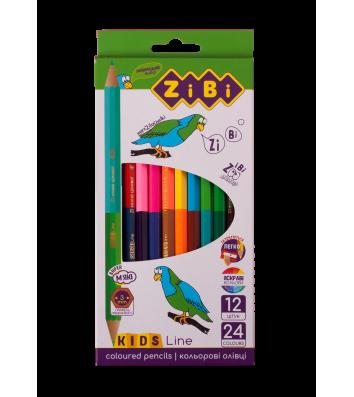 Карандаши цветные 12шт 24 цвета двусторонние Double, Zibi