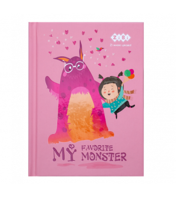 "Блокнот А6 64л клеточка ""My favorite monster"" розовый, Zibi"