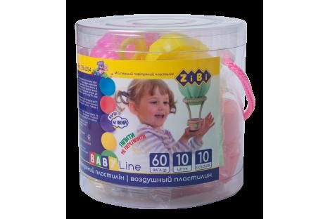 Пластилин воздушный 10 цветов ассорти, Zibi