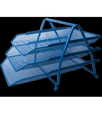 Лоток горизонтальний потрійний металевий синій, Buromax