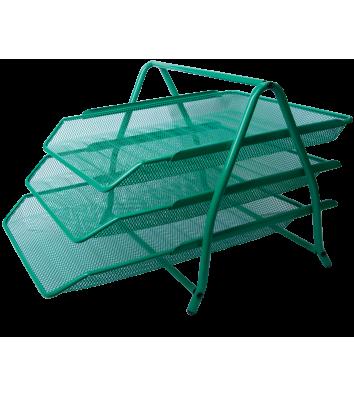 Лоток горизонтальний потрійний металевий зелений, Buromax