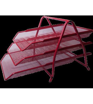 Лоток горизонтальний потрійний металевий червоний, Buromax