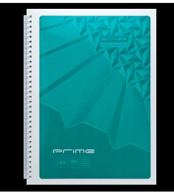 Блокнот A4 96л клетка Prime, боковая спираль бирюзовый, Buromax