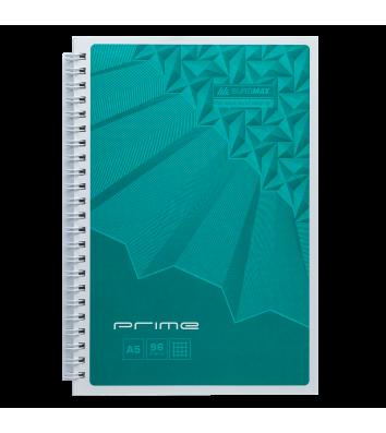 Блокнот А5 96арк клітинка Prime, бічна спіраль бірюзовий, Buromax