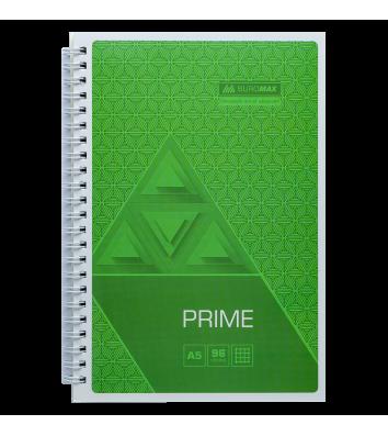Блокнот А5 96л клетка Prime, боковая спираль салатовый, Buromax