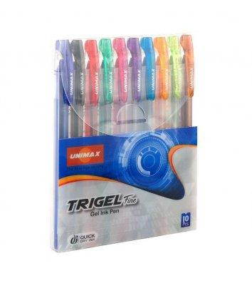 Набір гелевих ручок 10 кольорів 0,5мм Trigel, Unimax