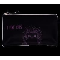 Пенал мягкий 1 отделение на молнии I love cats, Zibi