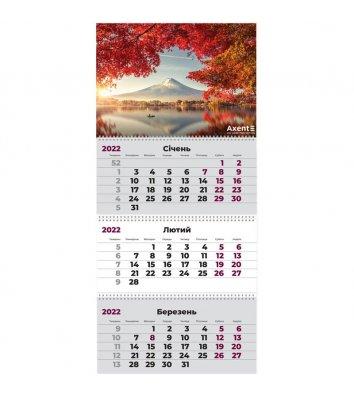 """Календар настінний квартальний на 2022р (3 пружини) """"Японія"""", Axent"""